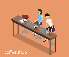 Isometric 3D vector illustration concept meeting at the coffee shop