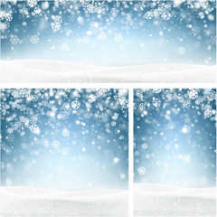 Blue winter backgrounds with snowflakes.