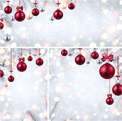 New Year backgrounds with pink Christmas balls.
