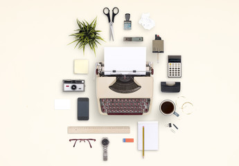 Vintage Typewriter and Desk Accessories Mockup Scene Creator