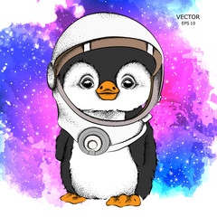 a cartoon penguin in an astronaut's space suit. Character in space. Vector illustration