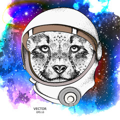A cartoon cheetah in an astronaut's space suit. Character in space. Vector illustration