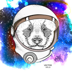 A cartoon panda in an astronaut's space suit. Character in space. Vector illustration