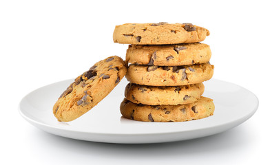 Stores à enrouleur Biscuit Chocolate chip cookie in a plate isolated on a white background