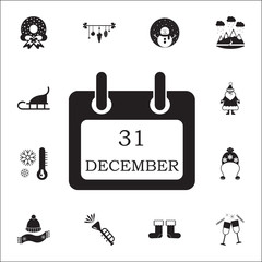 Calendar icon 1 january. Set of elements Christmas Holiday or New Year icons. Winter time premium quality graphic design collection icons for websites, web design, mobile app