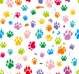 Traces of dog paws in colorful colors isolated on white. Bright seamless pattern.