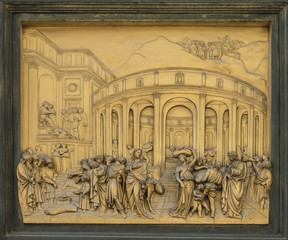 One half-relief panel of Ghiberti's  the 'Gates of Paradise' on the Baptistery door in Florence, Italy