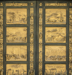 The half-relief panels ofn the doors by  Lorenzo Ghiberti on the baptistry door in Florence, Italy