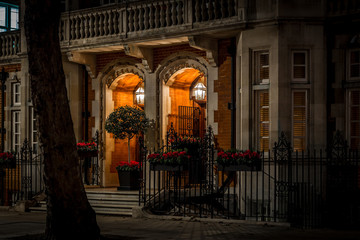 House in Mayfair in Christmas evening, London