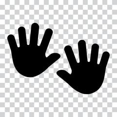 Hands, palms. Black silhouette on transparent background. Vector illustration