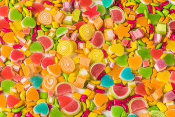 Colorful sugary candy background and texture