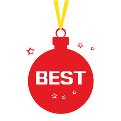 Red Christmas ball with yellow ribbon, stars, and white inscription BEST. Vector illustration