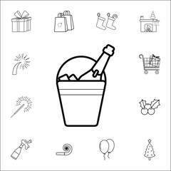 bucket of champagne line Icon. Set of Christmas and New Year icons. Signs, outline symbols collection, simple thin line icons for websites, web design, mobile app