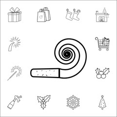 party horn blowout line icon. Set of Christmas and New Year icons. Signs, outline symbols collection, simple thin line icons for websites, web design, mobile app
