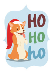 Christmas 2018 dog card vector cute cartoon puppy characters illustration home pets doggy Xmas print design web banner celebrate in Santa Red Hat