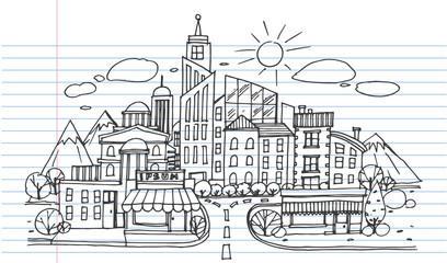 Hand drawn City Sketch for your design,Drawn in black ink on lined notebook paper