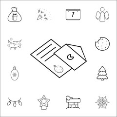 Christmas greeting envelop card line icon. Set of Christmas and New Year icons. Signs, outline symbols collection, simple thin line icons for websites, web design, mobile app