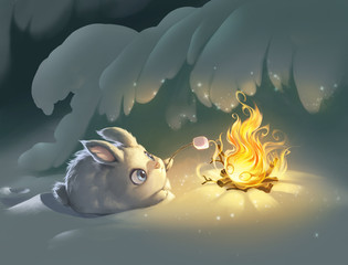 Christmas illustration of a little fluffy bunny roasting marshmallow with the help of magic fire