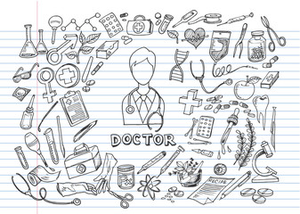 Wall Murals Doodle Hand drawn medicine icon set on lined notebook paper. Medical sketched collection. Healthcare, pharmacy doodle icons. Vector illustrations