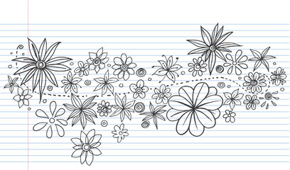 Flowers Doodle Vector on lined notebook paper