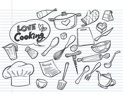 Love Cooking concept on lined notebook paper,Poster with hand drawn food doodles