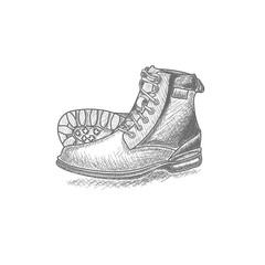 hand drawn boots vintage