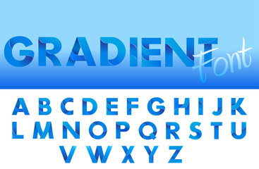 Decorative Gradient blue alphabet font. Letters for logo and design typography