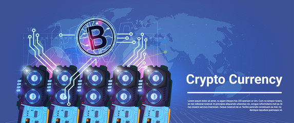 Crypto Currency Bitcoin Mining Farming Horizontal Banner World Map Background Digital Web Money Concept Vector Illustration