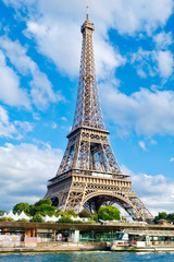 The Eiffel Tower in Paris on a sunny summer day