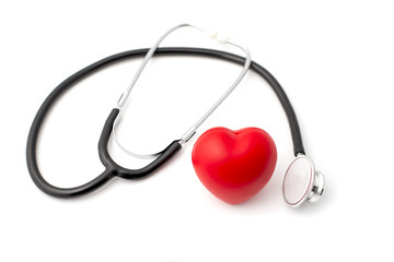 Red Rubber Heart and Stehoscope on White Background Health Concept