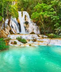 Deurstickers Watervallen Tat Kuang Si Waterfalls. Beautiful landscape. Laos.