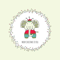 Cute Christmas themed elephant surrounded by a wreath with branches and lights and the words merry christmas to you, vector illustration.