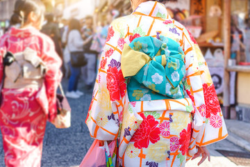 Woman in traditional japanese kimono walking at Kiyomizu temple ,Kyoto Japan
