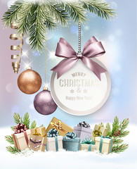 Merry Christmas Background with branches of tree and colorful gift boxes. Vector