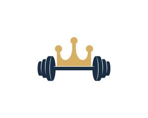 King Barbell Icon Logo Design Element