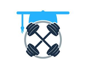 Barbell Education Icon Logo Design Element