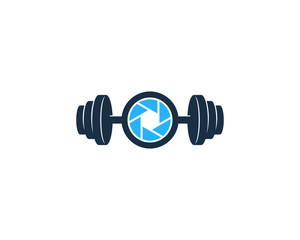 Barbell Camera Icon Logo Design Element