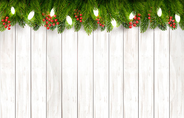 Christmas holiday decoration with branches of tree on wooden board. Vector.