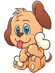 Vector illustration of Cartoon Dog holding bone