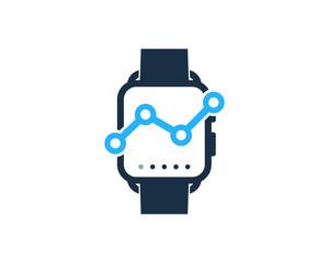 Smartwatch Graph Icon Logo Design Element