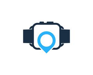 Smartwatch Location Icon Logo Design Element