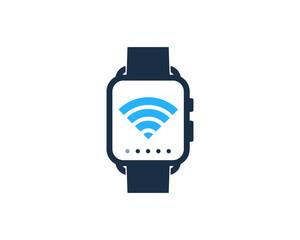 Wireless Smartwatch Icon Logo Design Element