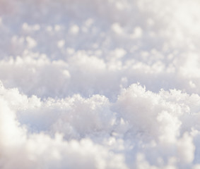close up on fresh snow - holiday background