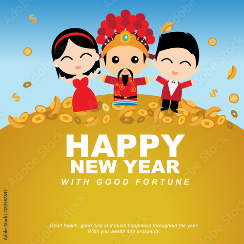 chinese new year celebration with god of fortune