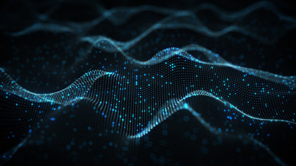 Futuristic blue neural network rendered with DOF