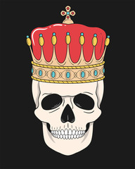 King skull with crown isolated on black Background. Vector illustration for t-shirt and other uses