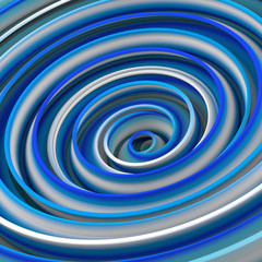 White and blue twisted shape abstract 3D rendering
