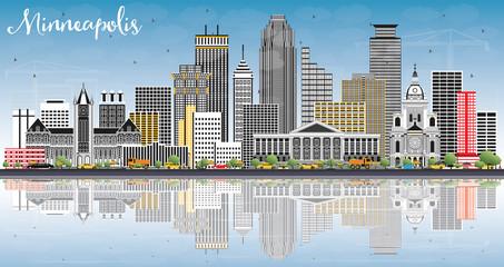 Minneapolis Minnesota USA Skyline with Color Buildings, Blue Sky and Reflections.