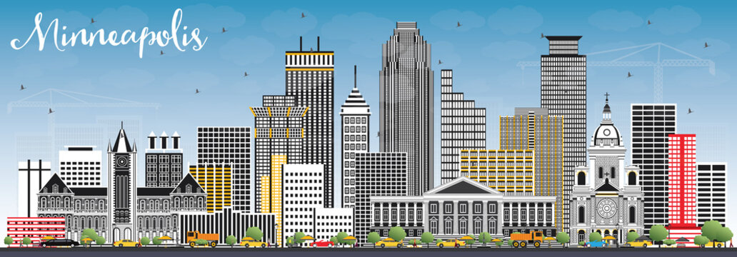 Minneapolis Minnesota USA Skyline with Color Buildings and Blue Sky.