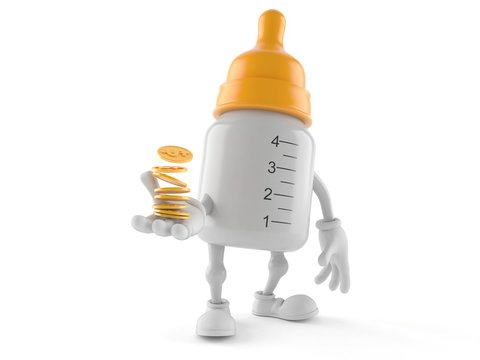 Baby bottle character with coins
